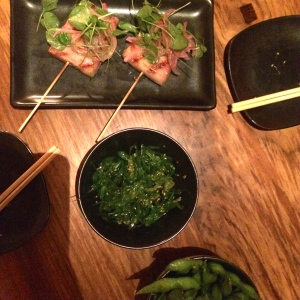 Pork belly (our first round), seaweed salad, and edamame as our appetizers for dinner.